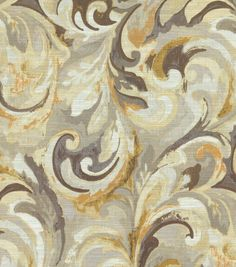 Swavelle Mill Creek Home Decor Print Fabric- Goldmine is actually more greige but transitions well with dark oiled bronze finishes for a softer contrast accent fabric.