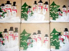 Parent gift for Christmas. Snowman handprint tiles. Love the tree stamp in the background.