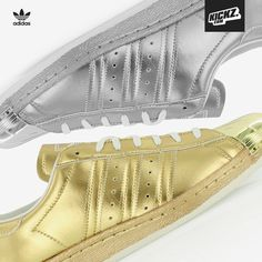 The brand-new Adidas Originals Superstar Metal collection features a metallic gold and a metallic silver version of the sneaker classic with the shell toe