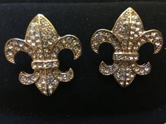Rhinestone fleur di lis in gold tone.  They are about the size of a quarter. | Shop this product here: http://spreesy.com/divasdynamicdeals/689 | Shop all of our products at http://spreesy.com/divasdynamicdeals    | Pinterest selling powered by Spreesy.com