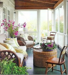 A dreamy screened veranda  amidst a sea of greens and fresh flowers, with a complementary set of vintage  furnishings. Ideal for KBC.