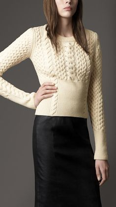 alexia dives posted Burberry - Wool Cashmere Cable Knit Sweater to their -knits and kits- postboard via the Juxtapost bookmarklet.Knitting Patterns Sweter Hand knit ladies crewneck sweater made to orderThe cashmere sweater. Liking the ribbed waist--e Cable Knitting, Vogue Knitting, Cable Knit Sweaters, Cashmere Sweaters, Hand Knitting, Knitting Patterns, Knitting Projects, Moda Crochet, Knitwear Fashion