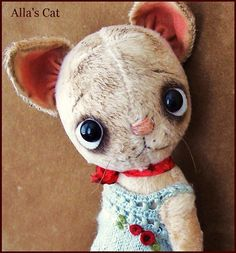 """By Alla Bears TINY original 8.5"""" artist OOAK Vintage Old  Prim Cat toy doll Holidays Whimsical baby sweet anime"""
