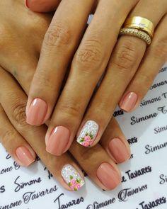 100 Fotos de Unhas decoradas Românticas Manicure Y Pedicure, Nail Arts, Nail Art Designs, Lily, Nail Ideas, Inspiration, Beauty, Wallpaper, White Nails