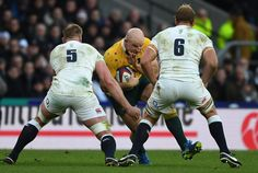 Chris Robshaw Photos Photos - Stephen Moore of Australia is confronted by George Kruis and Chris Robshaw of England during the Old Mutual Wealth Series match between England and Australia at Twickenham Stadium on December 3, 2016 in London, England. - Eng http://www.buzzblend.com