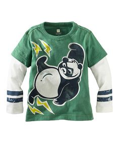 Another great find on #zulily! Kelly Green Super Panda Layered Tee - Infant by Tea #zulilyfinds