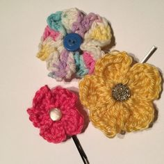 Yellow Crocheted Hair Clip with Bobby Pin These HANDMADE hair Bobby pins are adorable for spring/summer days and accent any outfit. They are pretty small and about the size of 3 coins. Accessories Hair Accessories