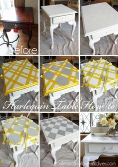 Harlequin Painted Side Table French Linen Harlequin Painted Side Table How-to More from my site Farmhouse Side Table Makeover Thrift Store Side Table Makeover