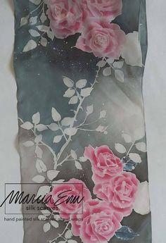 ROSES HANDPAINTED SILK Scarforiginal painting/Pink roses grey