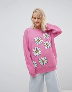 Willow And Paige Pink Oversized Sweater With Daisy Design