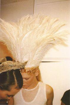 helmut lang feather head dress
