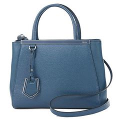 FENDI Auth 8BH253 Handbag 2 Jours Blue Calf Leather Free Ship Excellent #7623 #FENDI #TotesShoppers