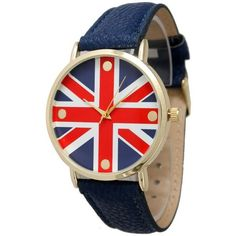 Olivia Pratt British Flag Leather Watch ($25) ❤ liked on Polyvore featuring jewelry, watches, navy, navy watches, buckle watches, leather bracelet e colorful watches