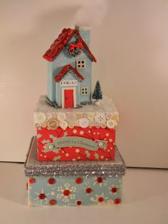 Beth Watson Design Studio Christmas House Stacked Boxes