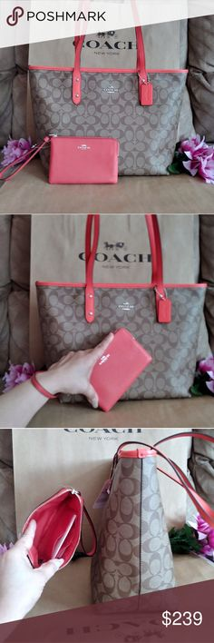 NWT Coach tote purse shoppers bag w/ wristlet NWT Coach purse bag tote shoppers Very elegant .roomy . versatile purse bag shoulder bag Handbag  Color : Orange : brwn w/ CC initials   W/ wristlet Very useful . can carry by itself Color : orangee watermelon             🎀🎁  PRICE FIRM. 🎀🎁 Coach Bags Totes