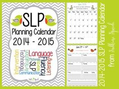 A FUN and FUNctional new SLP Planning Calendar for 2014-2015 is ready for you over on TpT from @SublimeSpeech!