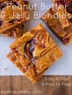 Peanut butter and jelly sandwiches are a classic lunch food for kids. Peanut Butter and Jelly Blondies take that lunch and turn it into a dessert. You can use whatever kind of jelly your heart desires. Just Desserts, Delicious Desserts, Dessert Recipes, Yummy Food, Layered Desserts, Dessert Ideas, Homemade Peanut Butter, Peanut Butter Recipes, Biscuits