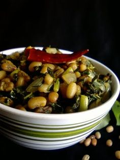 Amaranth Leaves and Red Chori Beans #Curry #Recipe