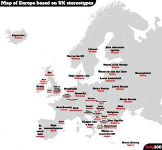 - The British stereotype map of Europe (according to Google). More...