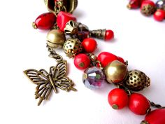 Red Coral necklace Red necklace Red by Jewelry2Heart on Etsy