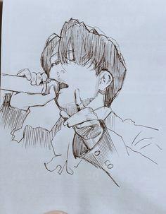 Got7 Fanart, Kpop Fanart, Kpop Drawings, Pencil Drawings, Drawing Base, Painting & Drawing, Youngjae, Et Tattoo, Fan Art