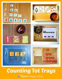 Please enjoy several activities for introducing Montessori math to toddlers. This is part of the 12 months of Montessori Learning series! Toddler School, Toddler Play, Tot School, Montessori Preschool, Preschool Curriculum, Montessori Infant, Fun Activities For Toddlers, Preschool Activities, Maths Resources