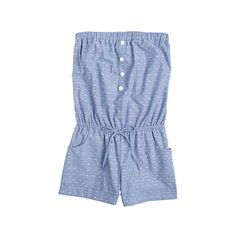 Dobby Chambray Romper ($15) ❤ liked on Polyvore featuring jumpsuits, rompers, dresses, delias, rompers/playsuits, blue romper, sleeveless romper, blue rompers, sleeveless rompers and chambray romper