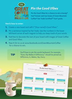 #PinTheGoodVibes Pinterest Contest https://www.facebook.com/GreenMountainCoffee/app_398385663564974 #Pinterest #Contest #Coffee