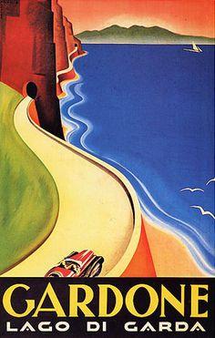 Car Automobile Roads in Gardoni Lake Lago de Garda Italy Italia Italian Vintage Poster Repro FREE Sh Vintage Italian Posters, Art Vintage, Vintage Travel Posters, Vintage Ads, Vintage Crafts, Antique Art, Art Deco Posters, Poster Prints, Art Prints