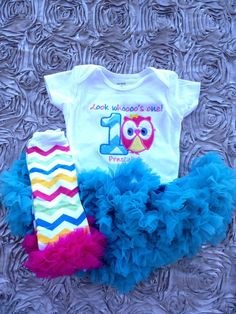 Aqua chevron look whoooo's one owl birthday outfit  by CEBowtique, $48.00
