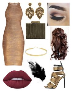 """""""Regal and Gold"""" by siri12345 ❤ liked on Polyvore featuring Tom Ford, Hervé Léger, Lime Crime, Sondra Roberts and Lana"""