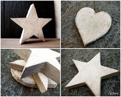 DIY Foam shapes dipped in concrete mix and allowed to dry. Concrete Crafts, Concrete Projects, Craft Tutorials, Craft Projects, Craft Ideas, Foam Shapes, Papercrete, Ideas Geniales, Paperclay
