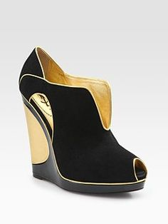 Yves Saint Laurent -suede cutout wedge ankle boots