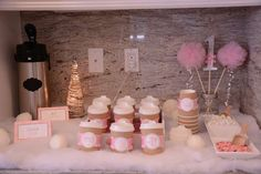 Hot cocoa bar at a Winter Onederland birthday party! See more party planning ideas at CatchMyParty.com!