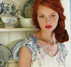 #redhair #redheads The whole picture is just perfection red hair, bold red lips, and soft florals. :) eSalon.com