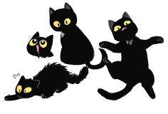 Creature Drawings, Animal Drawings, Character Drawing, Character Design, Anime Drawings Sketches, Cool Drawings, Black Cat Tattoos, Kitty Games, Cat Pose
