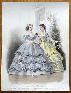 LES MODES PARISIENNES Plate No 846 Published Paris 1859 by D Aubert Co in Les Modes Parisiennes Illustres Journal De La Bonne Compagne An attractive