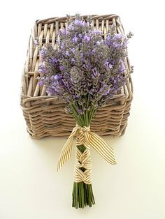 love the idea of a simple bouquet tied with a pretty striped ribbon