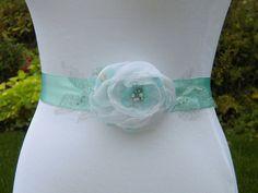 Mint Green/Aqua Floral Bridal Sash SALE White by SorellaSashes