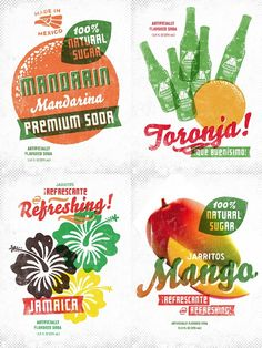 Jarritos soda flavors // retro type treatment by Simon Walker