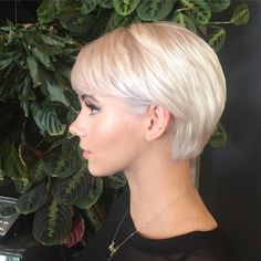 """""""Beautiful platinum babe! Growing out pixie cut. Cute shape up. She's a doll#hairbymorganedwards #platinumblonde #shorthair"""""""