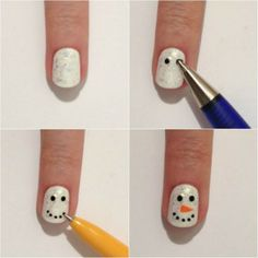 This post features simple holiday nail art designs that you can paint yourself. Holiday Nail Designs, Holiday Nail Art, Nail Art Designs, Nails Design, Holiday Candy, Holiday Makeup, Red Nails, Hair And Nails, Diy Ongles