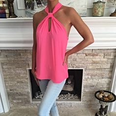 So Pretty! Bubble gum pink keyhole front top! High neckline creates a stunning silhouette! Back top button closure Tops Tank Tops