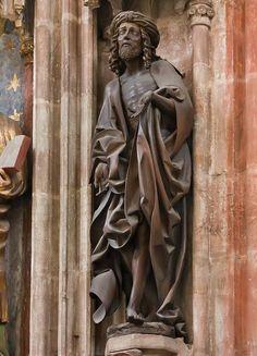 Nürnberg. St. Sebald: Schmerzensmann (Homme de Douleurs) über Volckamer-Epitaph (Veit Stoß, 1499)