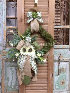 White Sunflower & Eucalyptus Faux Moss Wreath, Wreath, Door Wreath, Summer Wreath, Spring Wreath, Spring Decor, Door Decor by RcollectionandCo on Etsy https://www.etsy.com/listing/274820898/white-sunflower-eucalyptus-faux-moss