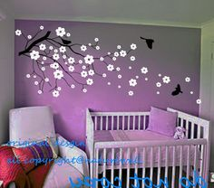 baby nursery  decals Cherry blossom wall decals  tree decals kids flower floral nature white girl wall decor wall art- Cherry Blossom Tree via Etsy