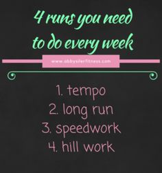 4 running workouts to do every week I get a lot of questions about the types of runs you should include in your training each week. Keep in mind that these 4 runs you need to do every week are only for those experienced runners. If you are a beginner you need to start with … … Continue reading →