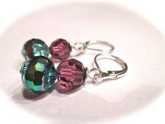 Log on to shellB143.etsy.com  Earrings velvet purple and green opal ab by ShellB143 on Etsy, $14.33