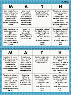 Give Them Choice with Reading Choice Boards - Teaching to Inspire with Jennifer Findley Kids, well, all people really, LOVE choice! That's why I created these reading choice boards. Math Rotations, Math 5, Guided Math, Teaching Math, Math Centers, Numeracy, Math Teacher, Daily Math, Teaching Tools