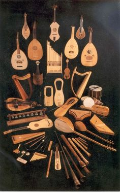 Collection of early music instruments